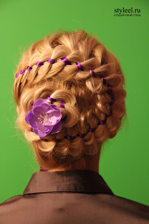 Прическа цветок и коса из волос