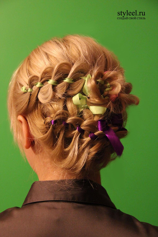 Плетение косы с цветами фото