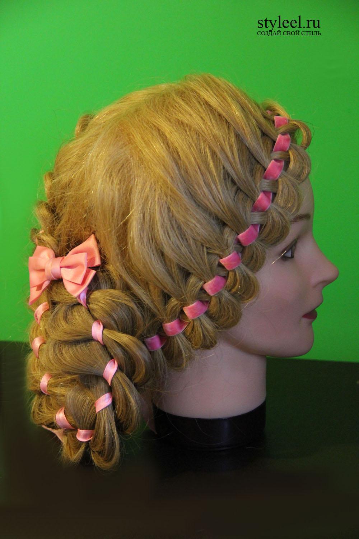 Прически из кос с бантами и лентами фото