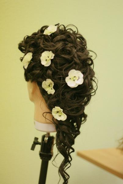 Прическа - полураспущеннные волосы. Работы учеников